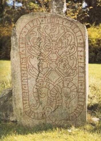 """""""Vidbjørn og Karlungr og Eringeirr og Nasi lot reise denne steinen... Han står i Drävle i Sverige og er dekorert med motiv frå soga om Sigurd Fåvnesbane."""""""