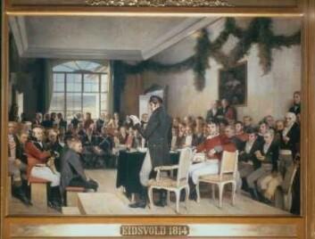 All makt i denne sal. Oscar A. Wergelands maleri Eidsvold 1814 (Foto: Stortingsarkivet / Teigens fotoatelier as)