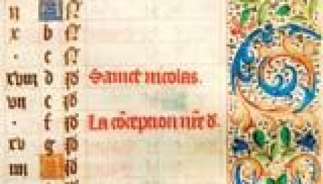 """Helgenkalender fra en bønnebok fra 1400-tallet. Boken har tilhørt Sigrid Undset."""