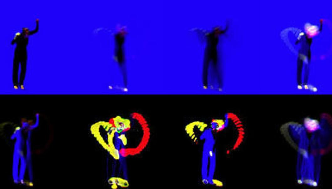 """""""I motsetning til et vanlig stillbilde viser bildene i avhandlingen den faktiske bevegelsen som skjer. Slike bilder gjør det mulig å representere og analysere bevegelser på circa fem sekunder."""""""