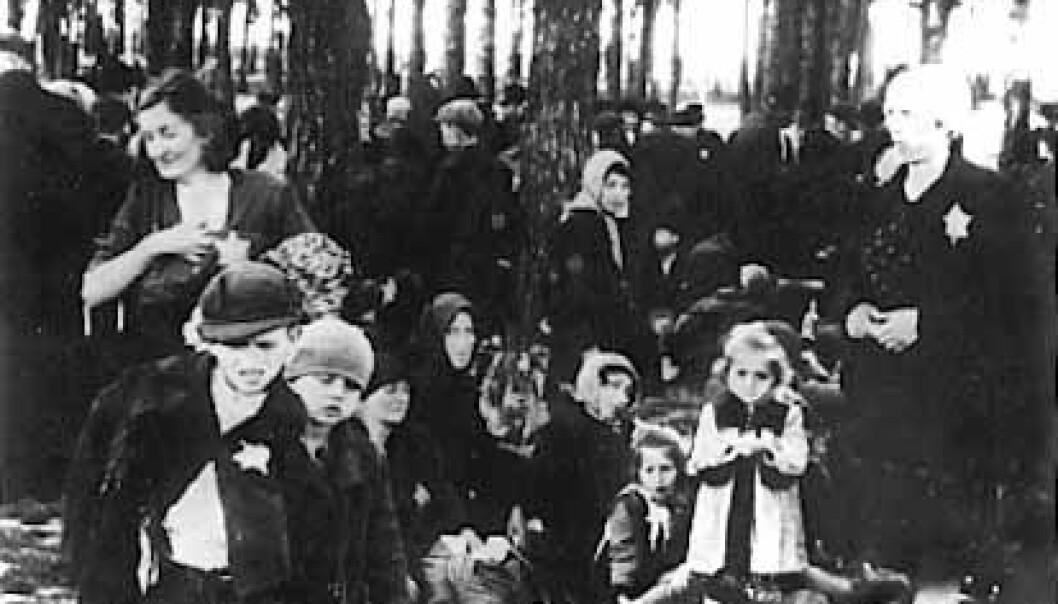 """""""Birkenau, venter på gassing. Dette bildet beviser ikke Holocaust, det er bare ett av millioner brikker som til sammen utgjør beviset."""""""