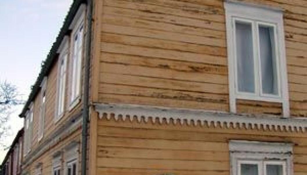 """""""Fordums arbeiderbolig på Svartlamoen. Typisk eksempel på et såkalt Reinahus. (Foto: Tor H. Monsen)"""""""