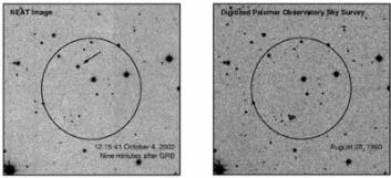 """""""Gammaglimtet fotografert ni minutter etter at HETE-2 registrerte utbruddet. Pilen (venstre bilde) peker på den fortsatt kraftige ettergløden. Til høyre er samme område av himmelen fotografert tidligere. (Foto: Caltech/Palomar/NEAT)"""""""