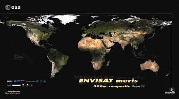 """""""Plakaten av det nye, høyoppløselige verdenskartet laget av Envisat. Bildene ble tatt fra mai 2005 til april 2006."""""""