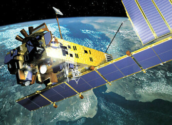 """""""Envisat, den europeiske romorganisasjonens store jordobservasjonssatellitt. Envisat ble skutt opp 1. mars 2002 og har siden den gang levert banebrytende bilder og målinger av jordas tilstand. Bildet er en illustrasjon."""""""