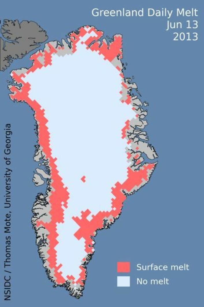 Rød farge viser områder hvor NASAs satellitter mener at det pågikk snøsmelting 13. juni. (Foto: (NSIDC / T. Mote, Univ Georgia))