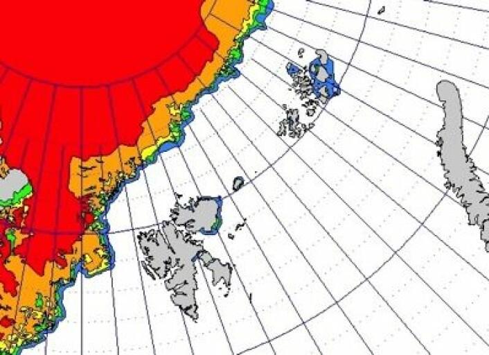 Det er fortsatt langt opp til iskanten både nord for Svalbard og nord for Franz Josef Land. Hvor vil det tettes igjen først denne vinteren, tro? (Foto: (met.no))