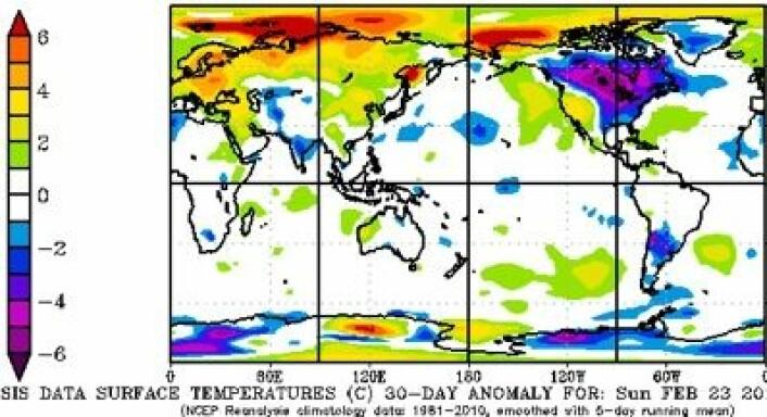 Reanalyse av temperatur for 30-dagers perioden 23 februar- 24 mars. (Foto: (NOAA))