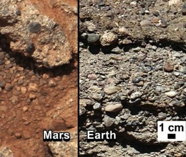 Hvor har det rent vann? Begge steder, sannsynligvis. (Foto: (Fra NASAs Curiosity web-side))