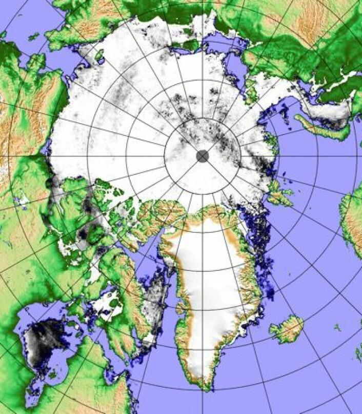 Iskart 27. juni basert på det japanske AMSR2-instrumentet. (Foto: (Univ. Bremen))