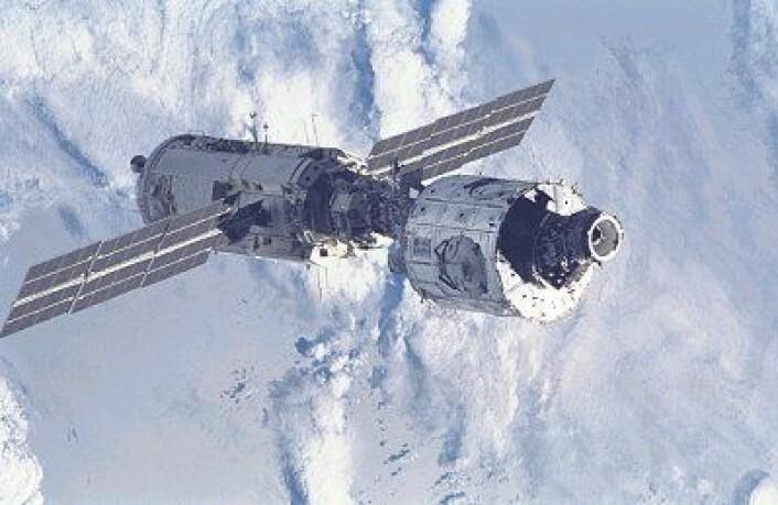 Zarya og Unity, de to første modulene i den internasjonale romstasjonen, i 1998. (Foto: NASA)