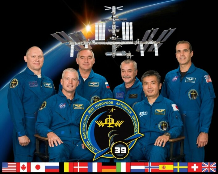 Ekspedisjon 39 på den internasjonale romstasjonen. Foran: Steve Swanson (t.v) og Koichi Wakata. Bak, fra venstre: Oleg Artemjev, Alexander Skvortsov, Mikhail Tjurin og Rick Mastracchio. (Foto: NASA)