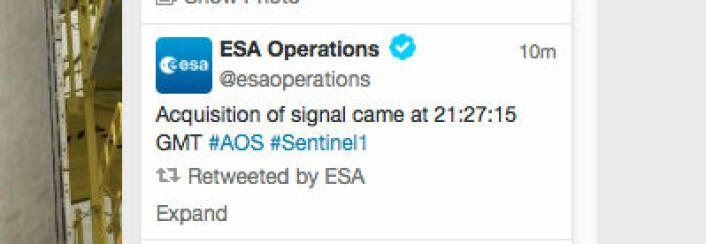 Oppskytningen gikk fint. (Foto: (Fra ESAs webside))
