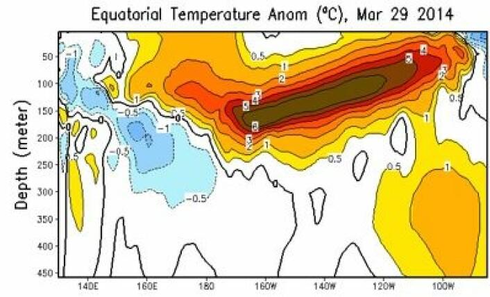 Et meget stort avvik fra normalen for sjøtemperaturen 100 - 150 meter under havoverflaten ved ekvator i Stillehavet nå. (Foto: (NOAA))