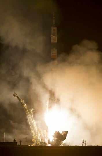 Sojuz TMA-12M skytes opp fra Bajkonur-kosmodromen 26. mars. (Foto: NASA)