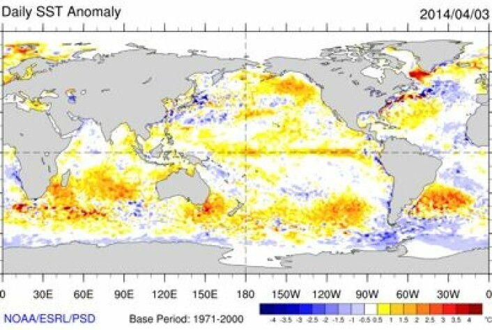 Temperaturen (avviket fra normalen) stiger nå uke for uke i havoverflaten langs ekvator i Stillehavet. Men fortsatt er ikke grenseverdien for El Ninjo passert. (Foto: (NOAA))