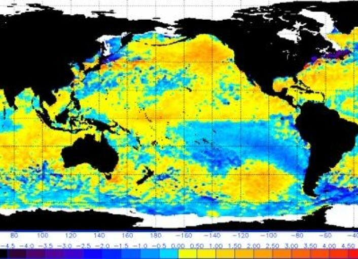 Satellittmålt havoverflatetemperatur 10. april. (Foto: (NOAA))