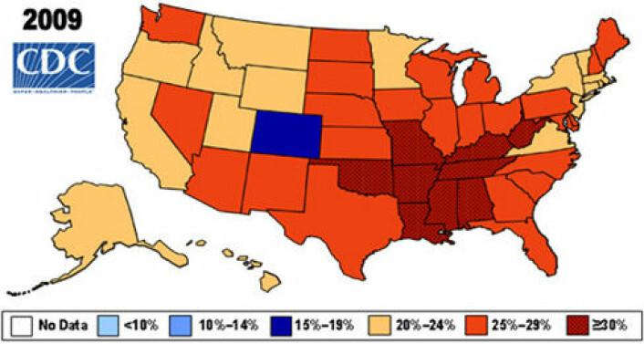 Fedmeepidemien i USA. Kroppsmasse indeks (BMI) >30 (Bilde: CDC.gov)