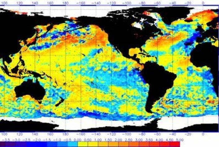 Sea Surface Temperature Anomaly 4. juli for en ganske stor del av kloden. (Foto: (NOAA))