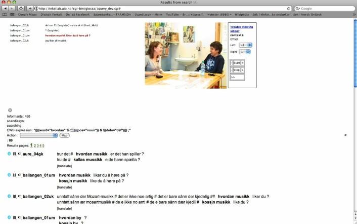 """Søkeresultat for søk på sekvensen """"hvordan   """" – videovindauge opna for treff frå Ballangen (Foto: Nordisk dialektkorpus)"""