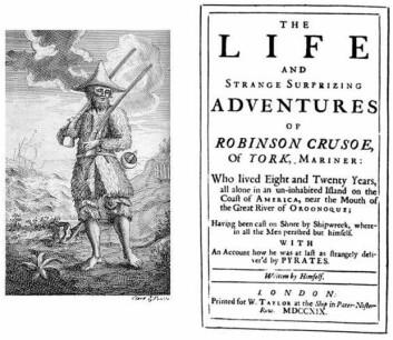 Robinson Crusoe, 1719 (Foto: fra førsteutgaven, Daniel Defoe 1719)
