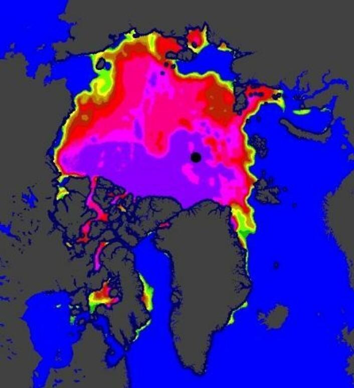Isfritt både i Hudson Bay og Karahavet nå, her er det satellittbaserte iskartet fra EUMETSAT 16 juli. (Foto: (EUMETSAT osisaf.met.no))