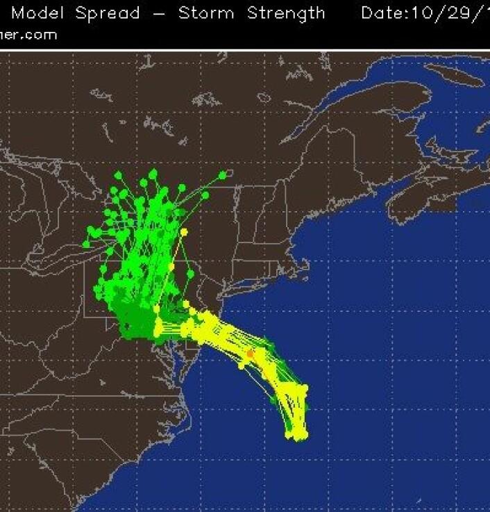 Det var stor enighet i modellprognosene om hvor Sandy ville gå i sluttfasen. (Foto: (Accuweather.com))