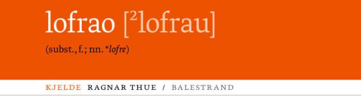 Overskrift på artikkelen 'lofrao' i boka Grautmål (2010) (Foto: Skald forlag)