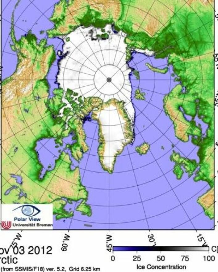 Det går mot vinter, og sjøisen nærmer seg kysten av Alaska. Her analysert av tyske isforskere. (Foto: (ESA PolarView / Univ Bremen))