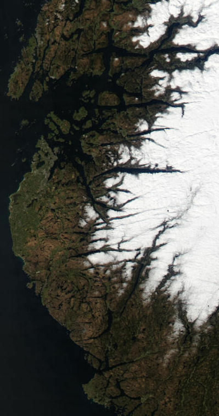 Fint påskevær i Rogaland 15. april. (Foto: (NASA Aqua MODIS))