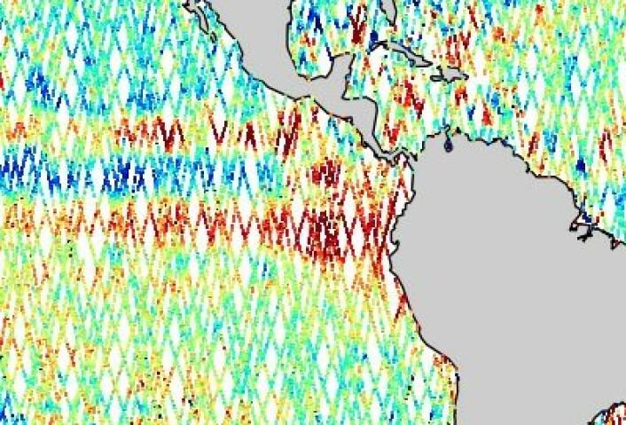 Høye havnivå-verdier helt inn til kysten av Sør-Amerika ved ekvator nå. (Foto: (NOAA))