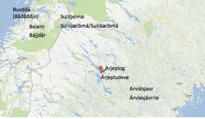 Nokre viktige stader i det pitesamiske området med nordgermanske og samiske namn (Foto: Øystein A. Vangsnes/Google Maps)