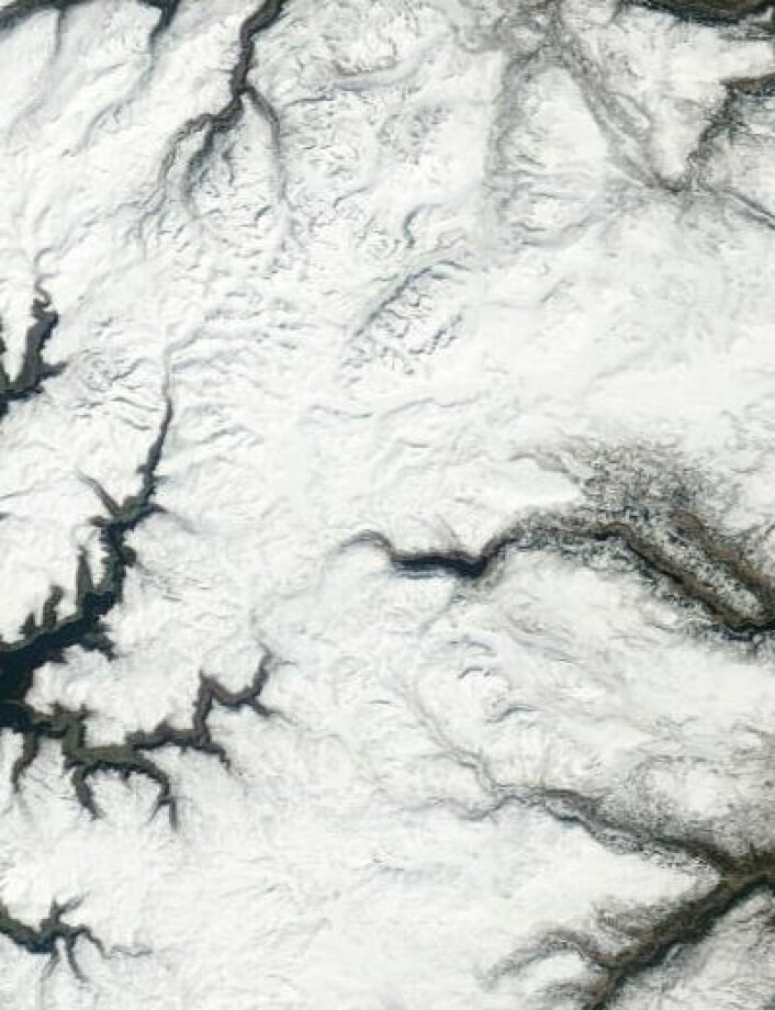 Valdresflya sett fra NASAs satellitt Terra 25. april. (Foto: (NASA Terra MODIS))