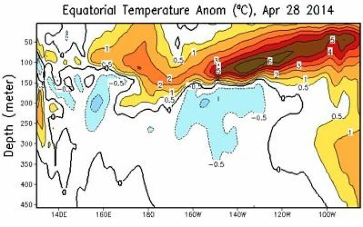 Temperatur-avviket fra normalen i vannmassene under ekvator 28. april. Dette begynner å sette tydelige spor i overflaten nå, også. (Foto: (NOAA))