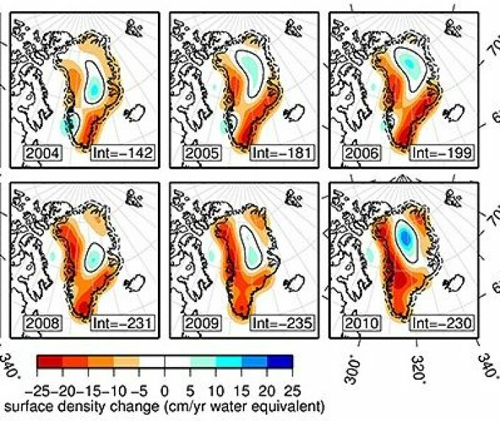 Noen årlige endringer i ismassene på Grønland, målt fra GRACE. Smeltingen har vekslet litt fra kyst til kyst, mens isen har økt noe i innlandet. Netto går det klart i minus. (Foto: (Harig & Simons, PNAS 2012))
