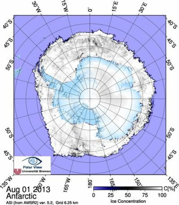 Sjøisen rundt Antarktis 1. august 2013. (Foto: (PolarView, Univ Bremen))