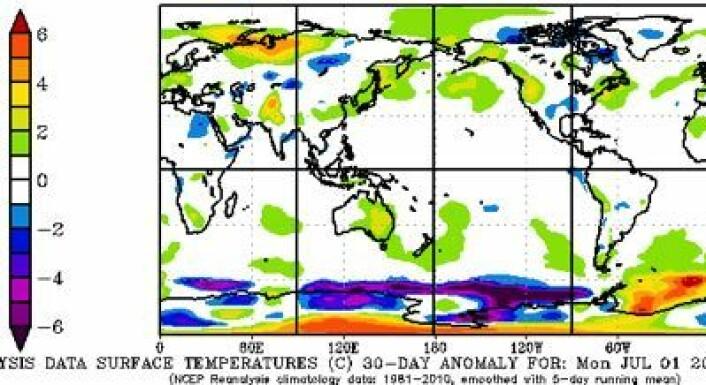 Juli 2013: Noe varmere enn normalt i Shanghai, New York, London, København og Oslo. For ikke å snakke om Karahavet. (Foto: (NOAA))