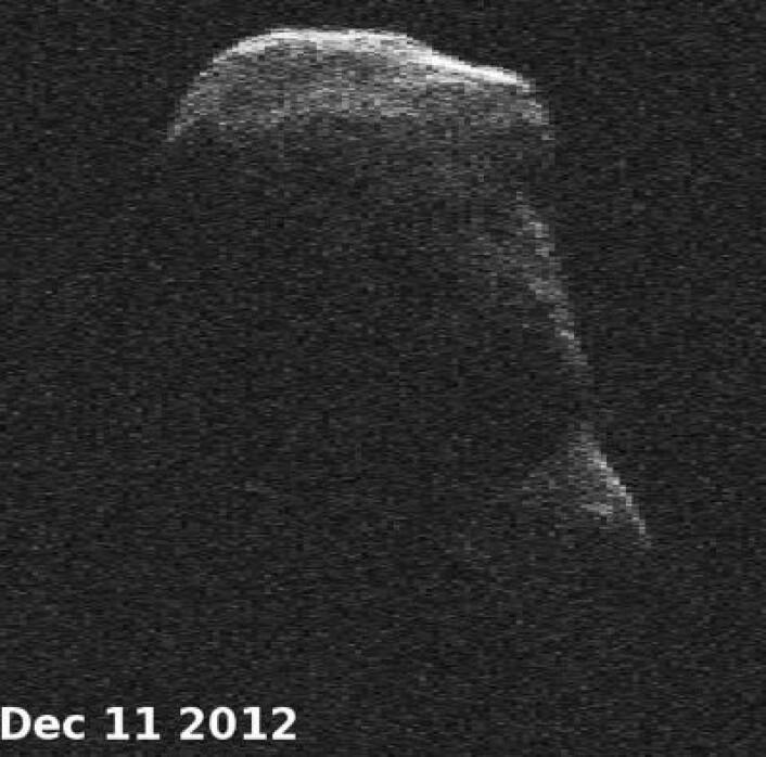 Her er 4179 Toutatis, observert med den store Goldstone-antenna i California 11. desember. (Foto: (NASA))