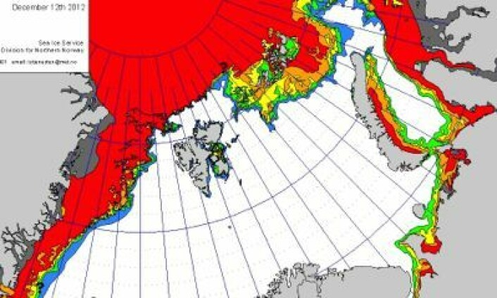 Det norske iskartet for Barentshavet 12. desember. (Foto: (met.no))