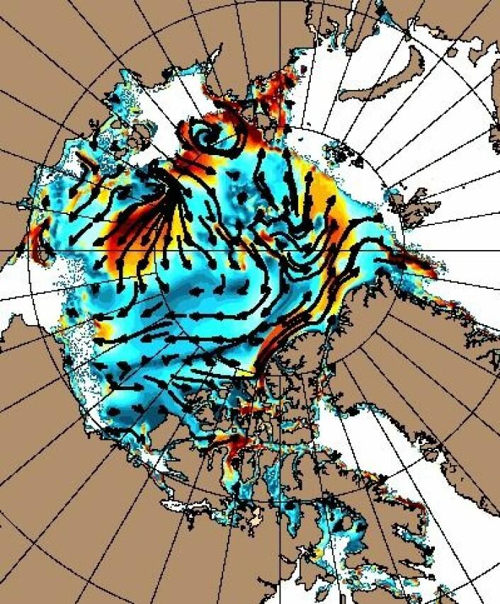 Isdrift-kart som viser hvordan sjøisen nå virrer rundt i Polhavet. Det er mindre is-fluks ut av Framstredet i år enn i fjor. (Foto: (NRL))