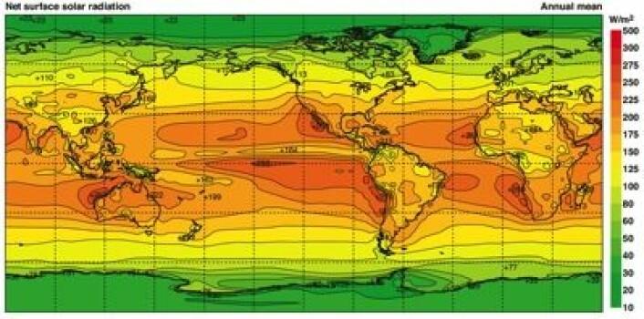 Årlig middelverdi for soloppvarmingen ved havnivå (net surface solar radiation), i.flg. en reanalyse ved ECMWF. (Foto: (Kallberg et al 2005))