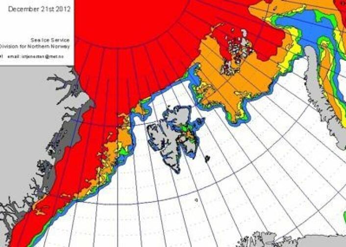 Kanskje vil julen 2012 bli husket for at man kunne seile isfritt rundt hele Svalbard? (Foto: (Iskart fra met.no 21 desember))