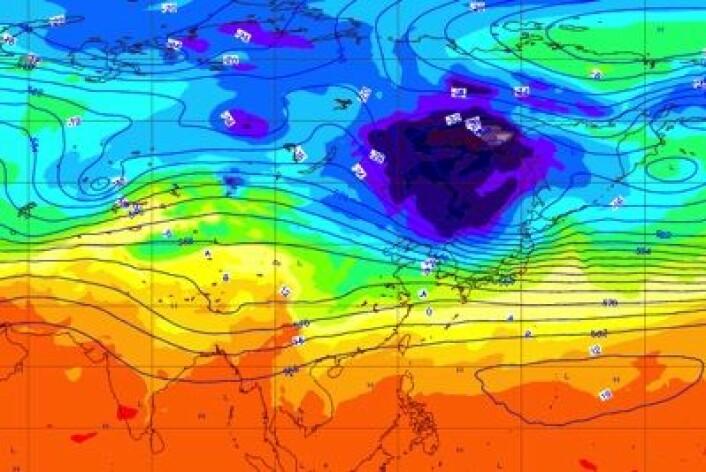 Skikkelig kaldt øst i Sibir. Her er værkartet fra ECMWF 25. desember. (Foto: (ECMWF))