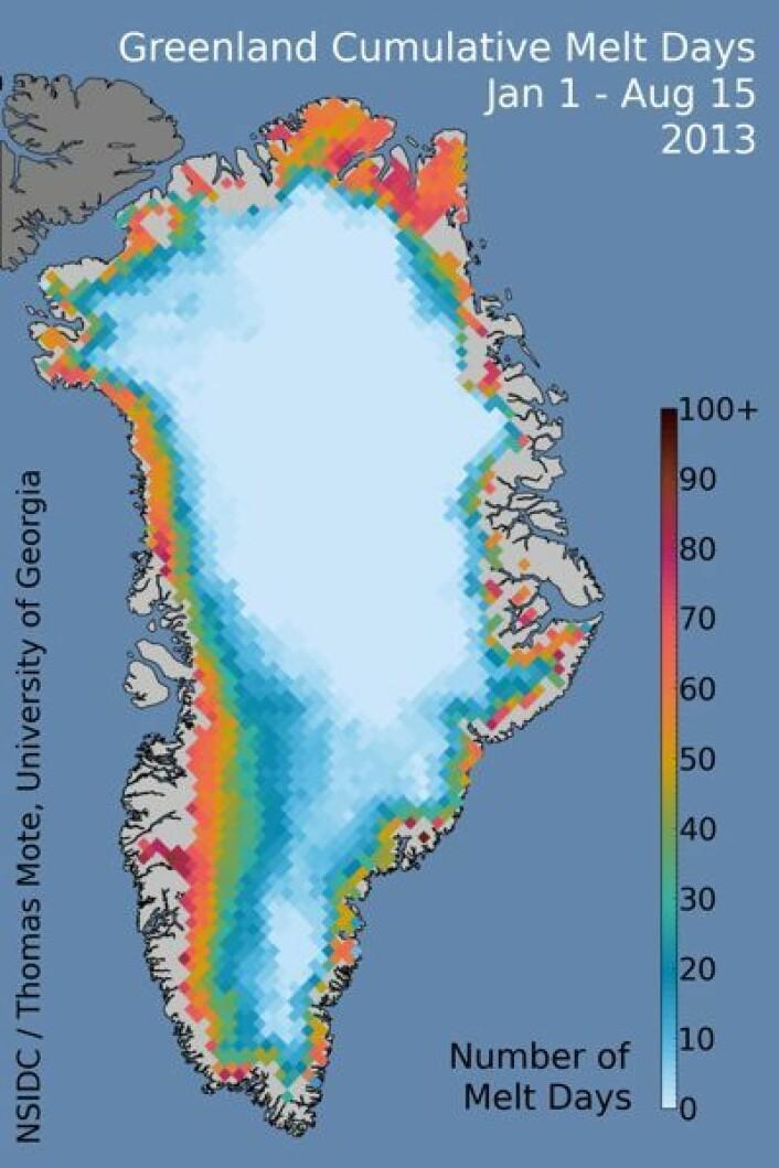 Fargekart som viser antall dager med issmelting på Grønlands iskappe i år. (Foto: (NSIDC / T Mote, Univ Georgia))