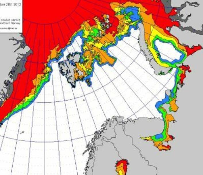 Der lukket drivisen seg rundt østsiden av Svalbard. Og det er ikke mye klaring i nord-vest heller, i dette iskartet fra 28 desember. (Foto: (met.no))