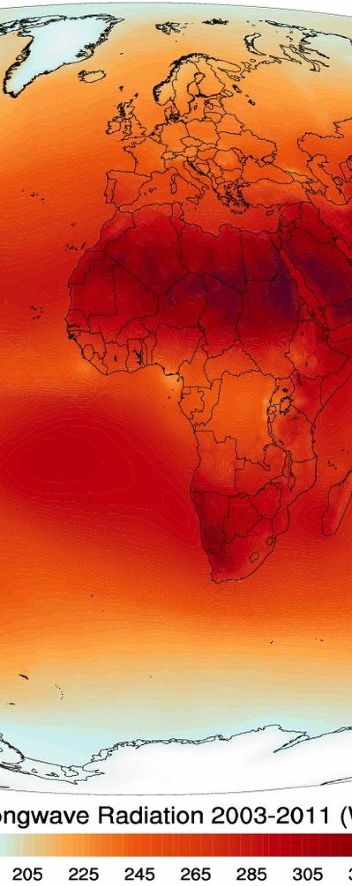 Jordklodens varmeutstråling midlet over perioden 2003-2011. Målt med AIRS-instrumentet på satellitten Aqua. (Foto: (NASA / Wikimedia Commons))