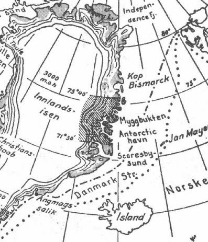 Utsnitt fra iskartet som ble laget for Helge Ingstads bok i 1935. Ingen tvil om at grensen for sommerisen gikk lengre sør den gang enn nå. (17-10-1935 H.I./O.I)