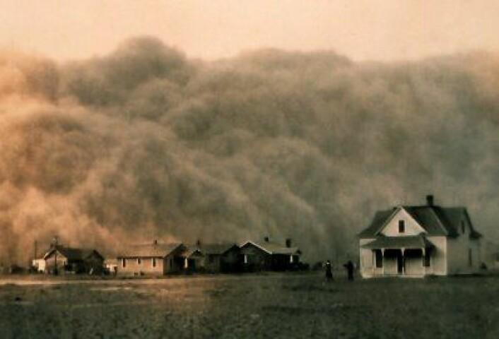 Støvstormen ruller inn mot Stratford, Texas, 18 april 1935. Får vi se noe tilsvarende til våren? (NOAA)