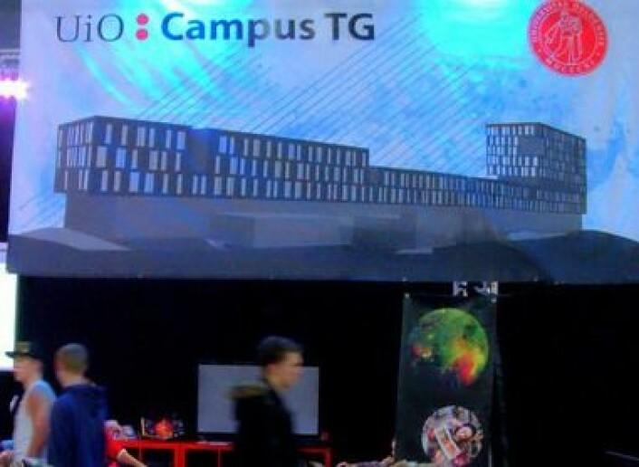 UiOs stand, passende kalt UiO: Campus TG», med Institutt for Informatikk som primus motor, har vært med på The Gathering siden 2012 og Realfagsbiblioteket er en del av standen. Foto: F. H. Juell