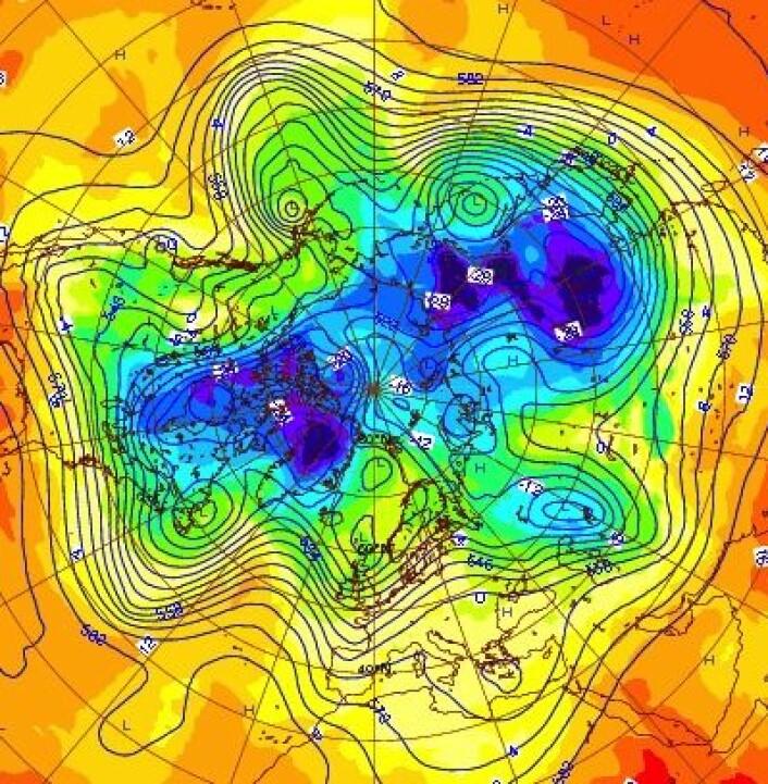 Temperaturkart fra ECMWF for 1. januar 2013. (Foto: (ECMWF))